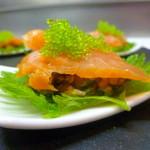 salmon shizo wasabi caviar canape